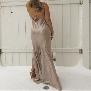 Floor length rose gold ball gown